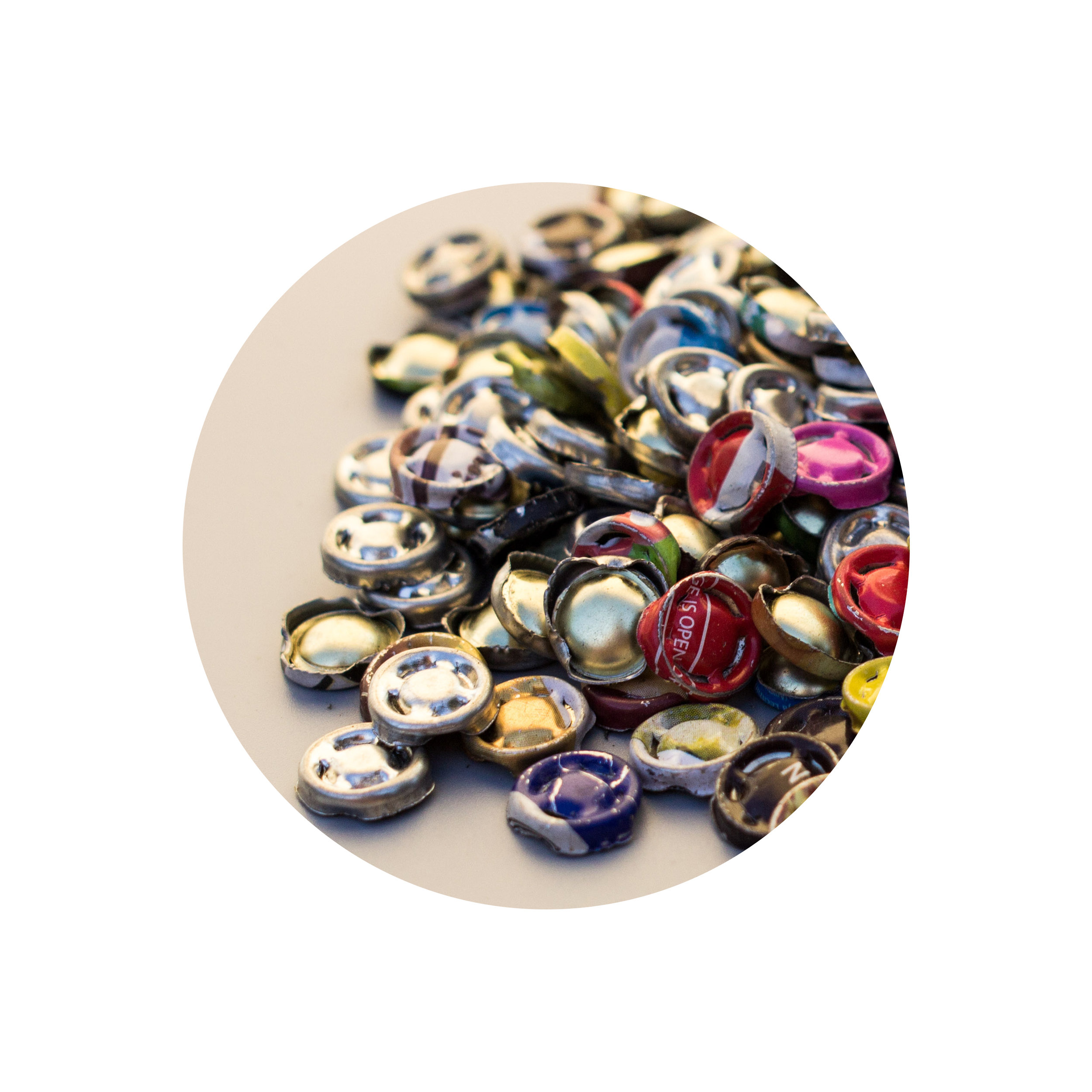 Metal Scraps - Purchased from local trash-pickers and upcycled into buttons.