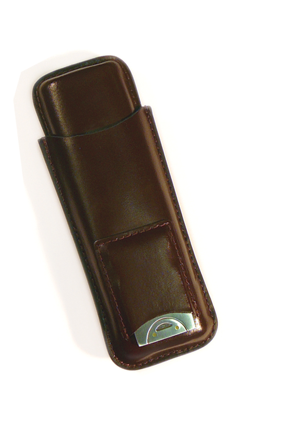LCG2/BRN or Black Leather Cigar Case with Cutter