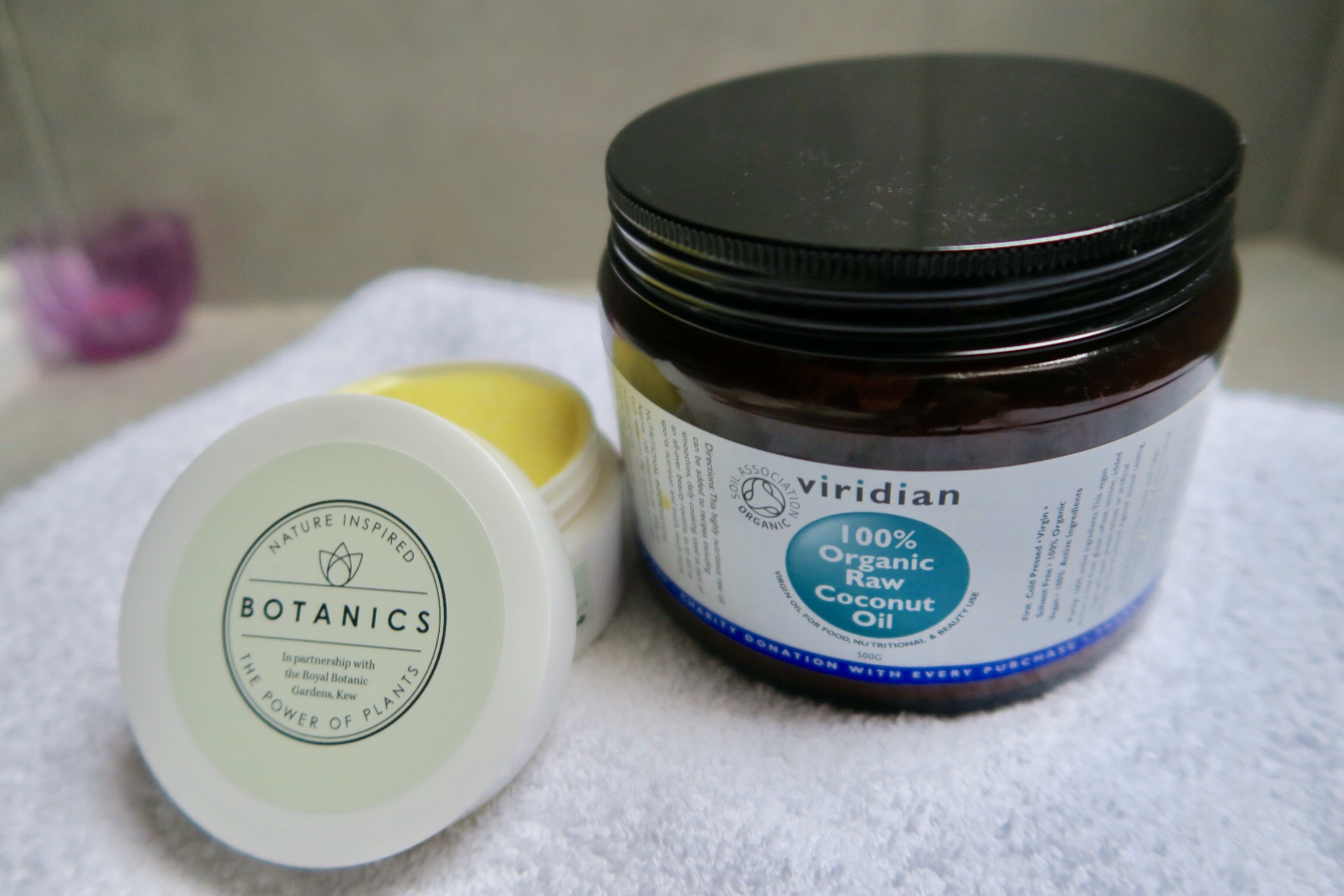 Boots Botanics Hot Cloth Cleansing Balm, £8.99 and Viridian Organic Coconut Oil, £15.