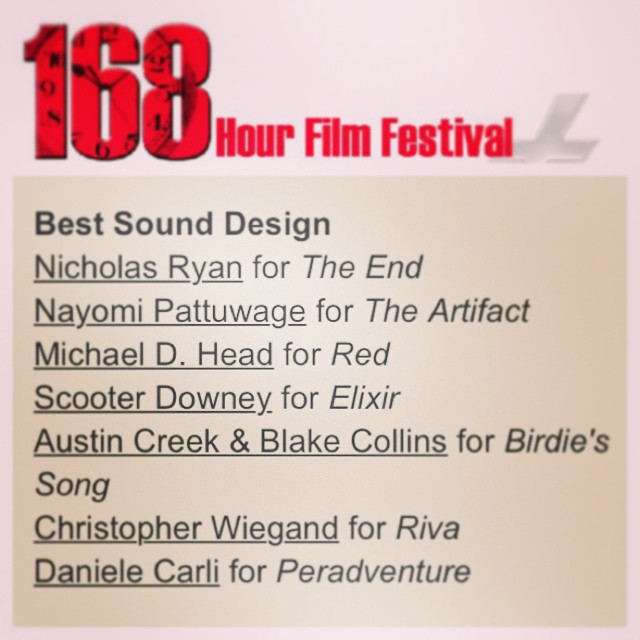 So this happened today. #The[POST]Office is nominated for Best Sound Design for #BirdiesSong #168fifestival #wedosoundtoyou