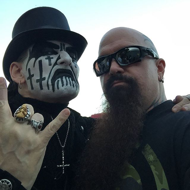 Kerry King and King Diamond before the show in Houston.  #repentless