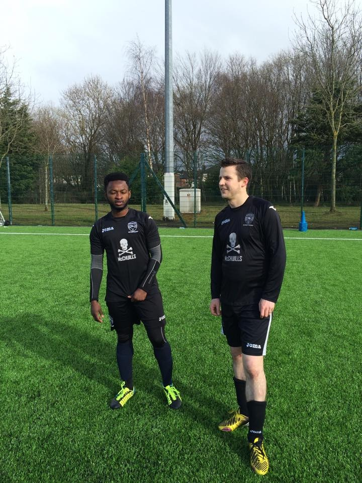 Harry (L) scored United's goal to round off a good move