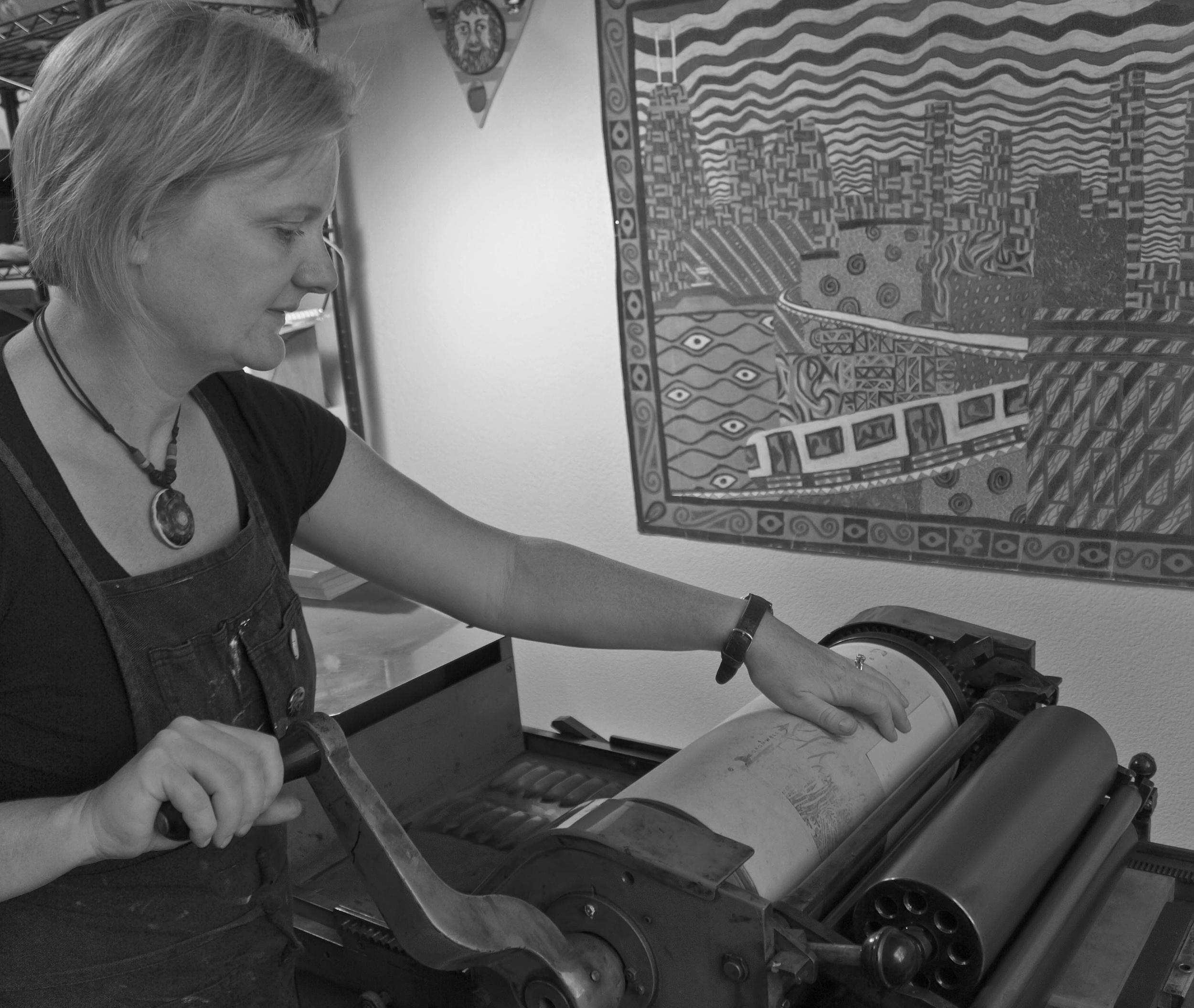 Katherine in the studio at Meridian Press.