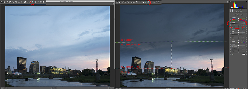 Simulating a Graduated Neutral Density Filter, Before & After