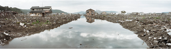 Image 12 in the Silent Existence series, taken of the aftermath of the 2011 Japanese Earthquake and Tsunami, in city of Ishinomaki. Hyakutake presents the images as a 'new page in Japanese postwar history'.