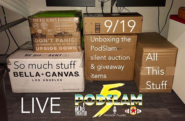 These boxes full of treasure have been under our producer's desk at work for over a week. On 9/19, live from the places that let you do that, we're going to unbox these suckers and give you a look at all the great things that will be a part of the PodSlam silent auction or flat out GIVEN AWAY at the live show on 9/21 at @iochicago!