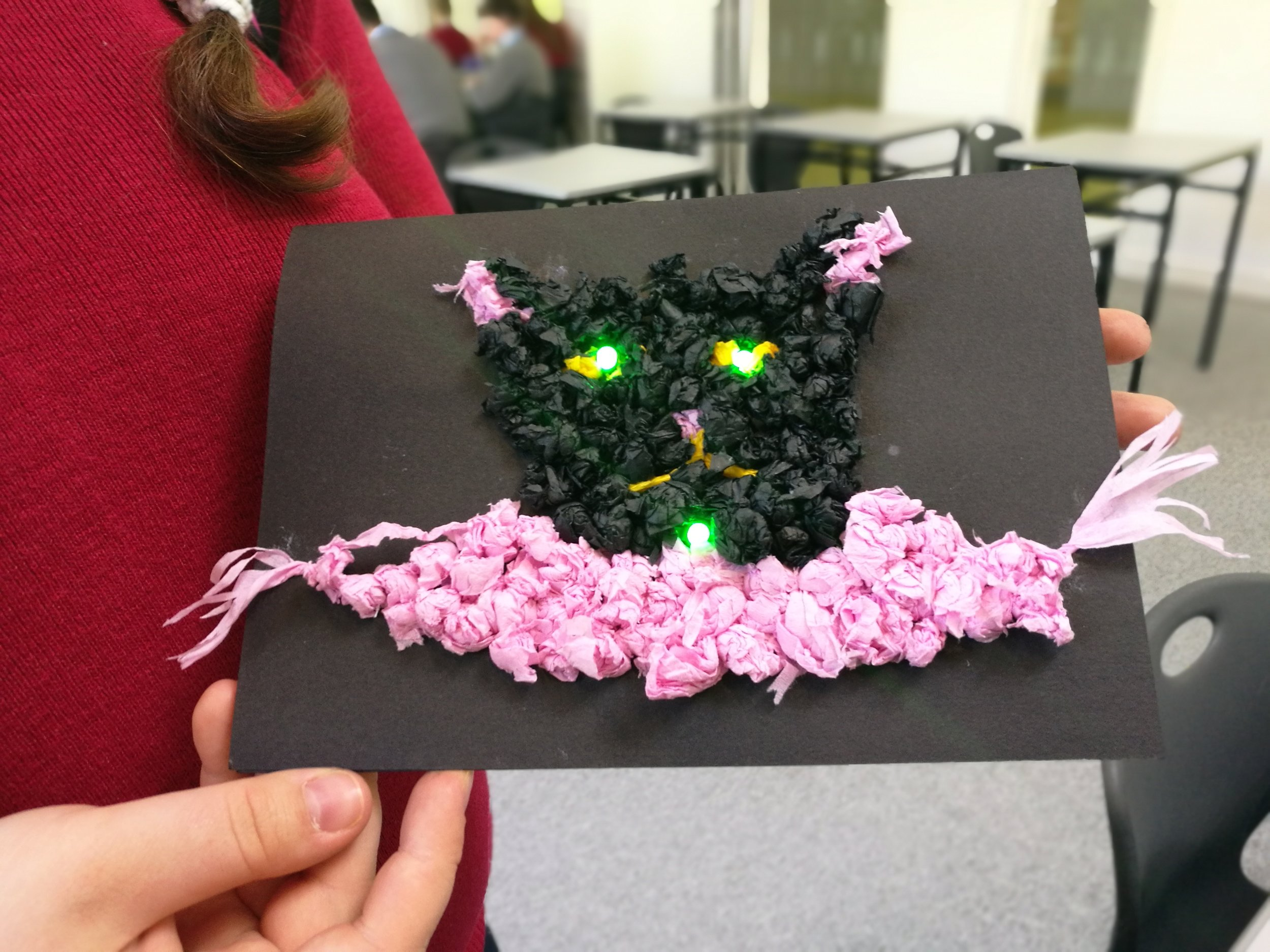 LED Artwork   A great workshop to combine creativity and design with LEDs. Also, a wonderful introduction to soldering.  You will be introduced to crafting, design, circuitry and how to work with electronic components such as LEDs, resistors, batteries and conductive tape to make an LED art work or an light box.  This workshop can be run with 10+ / adult age group, as a 2/3 hour session, or as a full day workshop.  If you would like to discuss and/or book this workshop with us  click here .