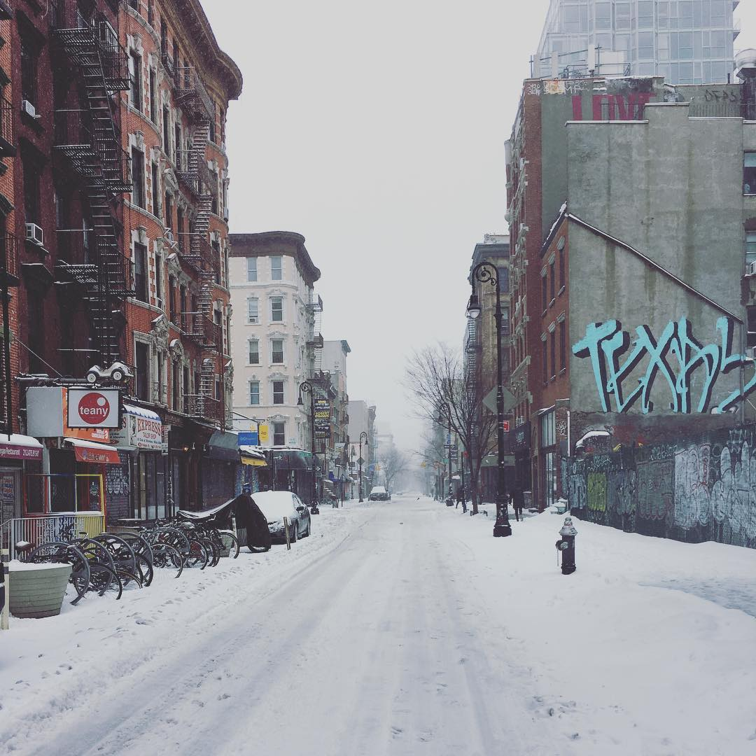 Where did everyone go 😯 It is a super wired and wonderful experience to wander the streets of Manhattan during a snowstorm. Everything is closed - even the subway. The few people we meet are walking in the middle of the streets since there are no cars 🌨