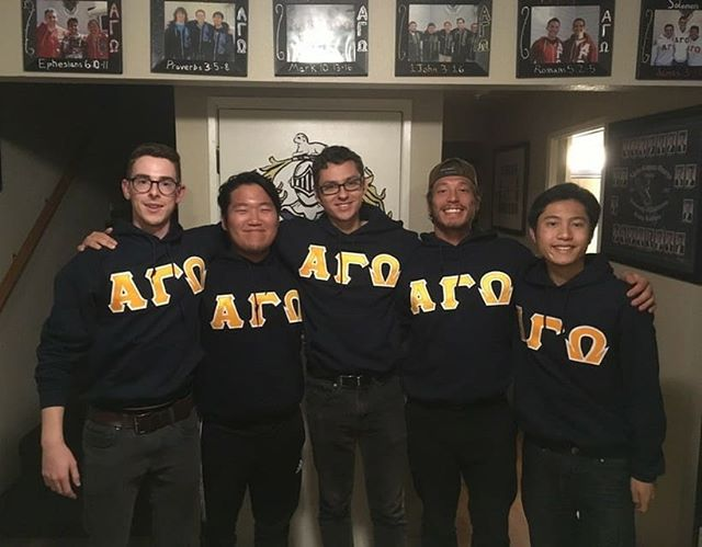 "Introducing Alpha Gamma Omega's newest additions, the Beta Tau class. We are blessed to have these 5 young men into our organization and are excited to see them grow and contribute as brothers of AГΩ  Andrew ""Orion"" Jackson Kevin ""Pollux"" Garrett Joshua ""Odysseus"" Paik William ""Theseus"" Lao Kevin ""Icarus"" Watson"