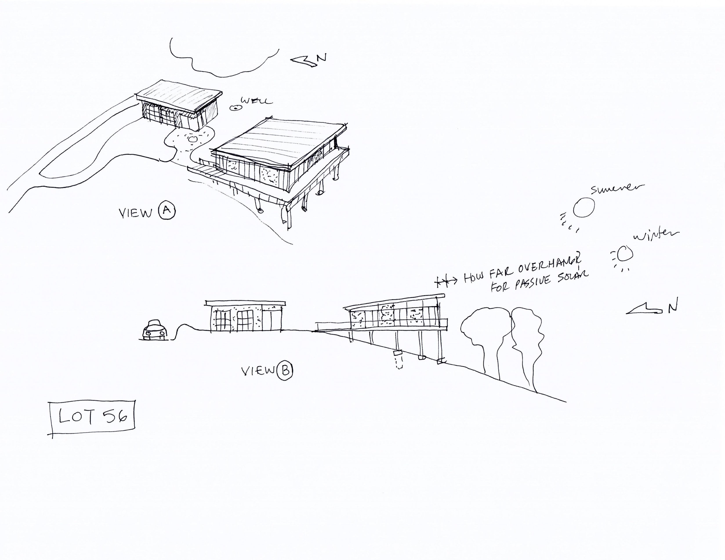 Sketches we made and reviewed with the Monterey County planners before purchasing the lot