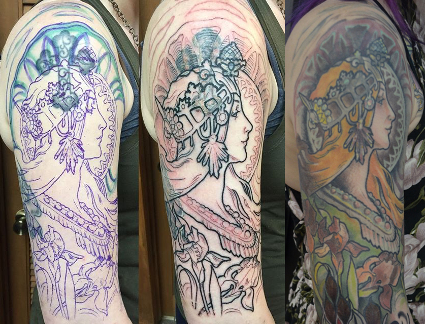 Coverup on the back of the arm and on the upper arm with a collage of Alphonse Mucha illustrations.