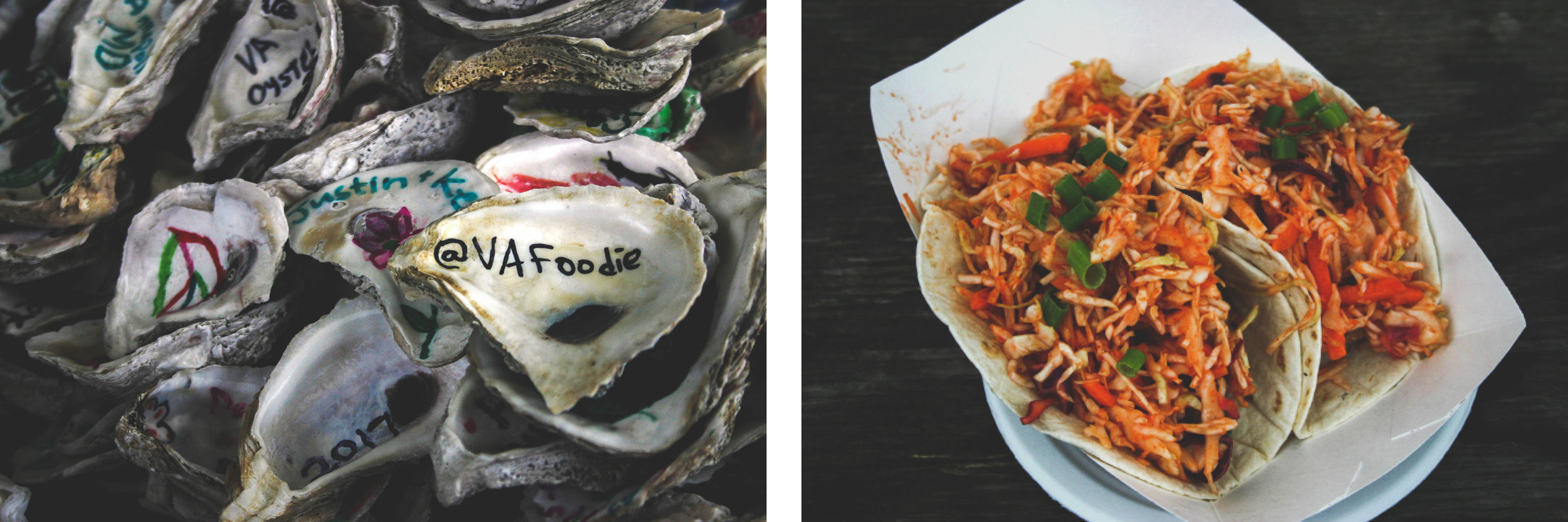 Personalized oyster shells at Dog and Oyster Vineyard/ Fried oyster tacos from Byrd's Seafood - Image credit: VAfoodie