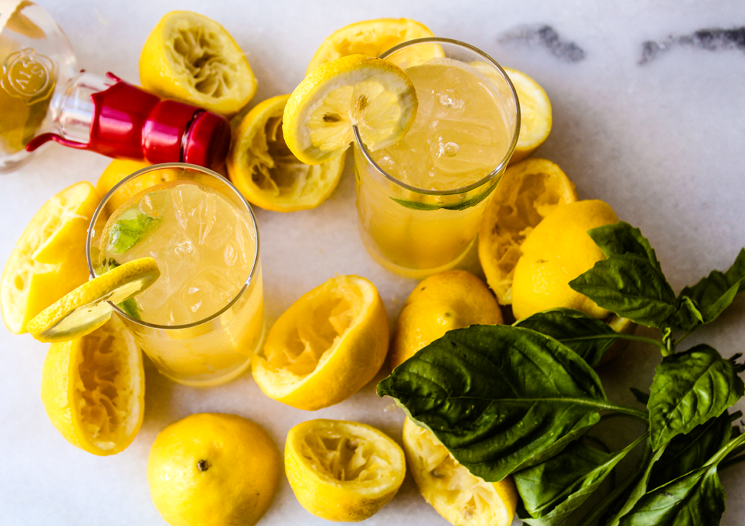 spiked honey basil lemonade