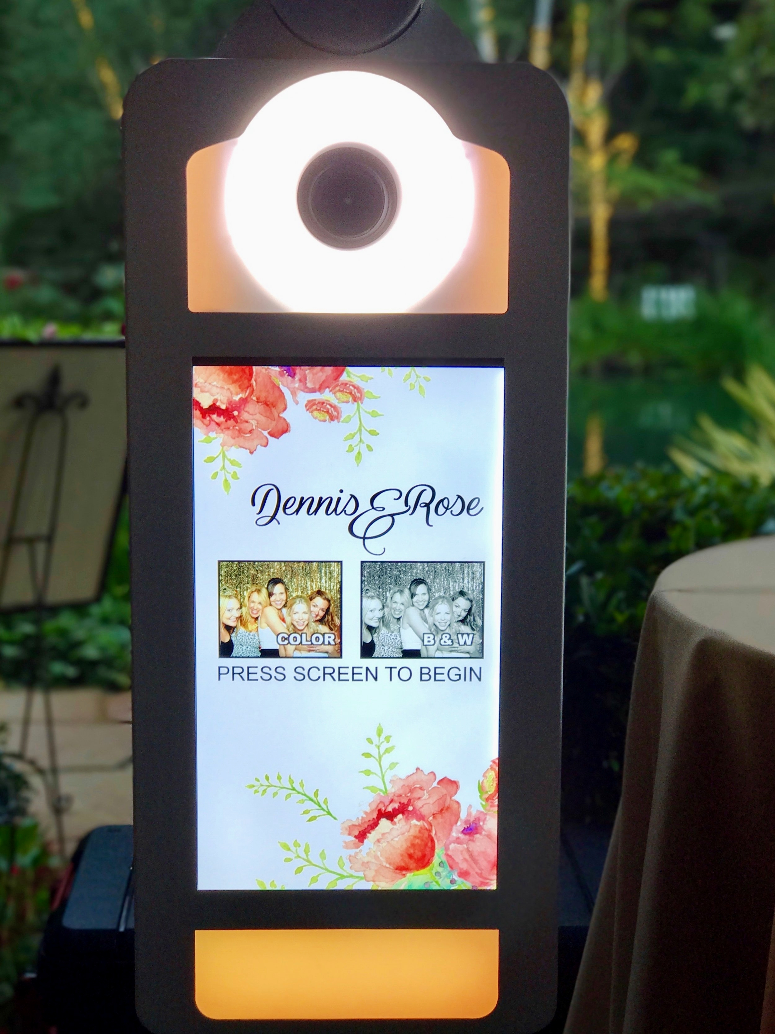 """Interactive PHoto Booth Machine  The incredibly stylish, most customizable, interactive, totally awesome photo booth experience out there.  Our sleek and modern photo machine provides the ultimate """"photo booth"""" experience, complete with step-by-step instructions on its touchscreen face."""