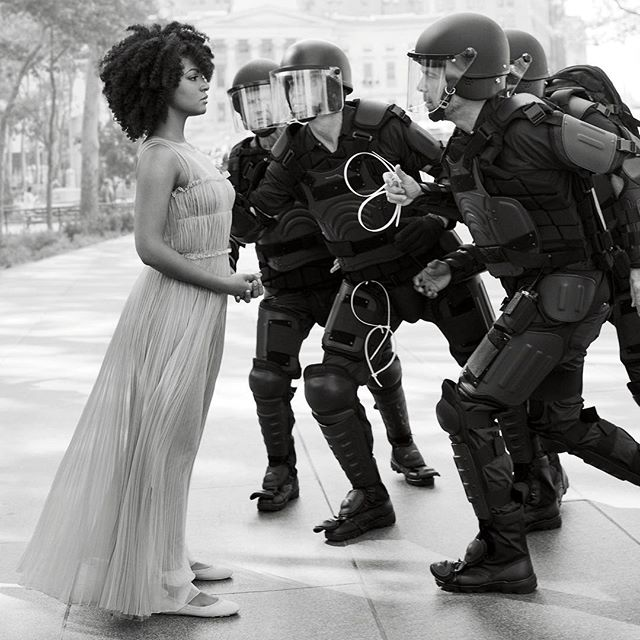 In honor of #blackhistorymonth #ieshaevans Re-enacted her inspiring moment @harpersbazaarus on Taking a Stand in Baton Rouge . .  Taking a Stand in Baton Rouge is a photograph of Ieshia Evans, being arrested by police officers dressed in riot gear during a protest in Baton Rouge, Louisiana, on 9 July 2016. The protest began in the aftermath of the shooting by police of Alton Sterling and Philando Castile. (From Wikipedia)