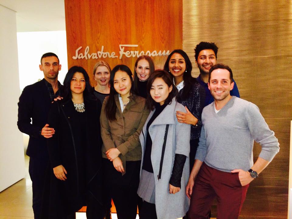 Pictured: The student team and company executives at the Salvatore Ferragamo head office on Fifth Avenue in Manhattan.