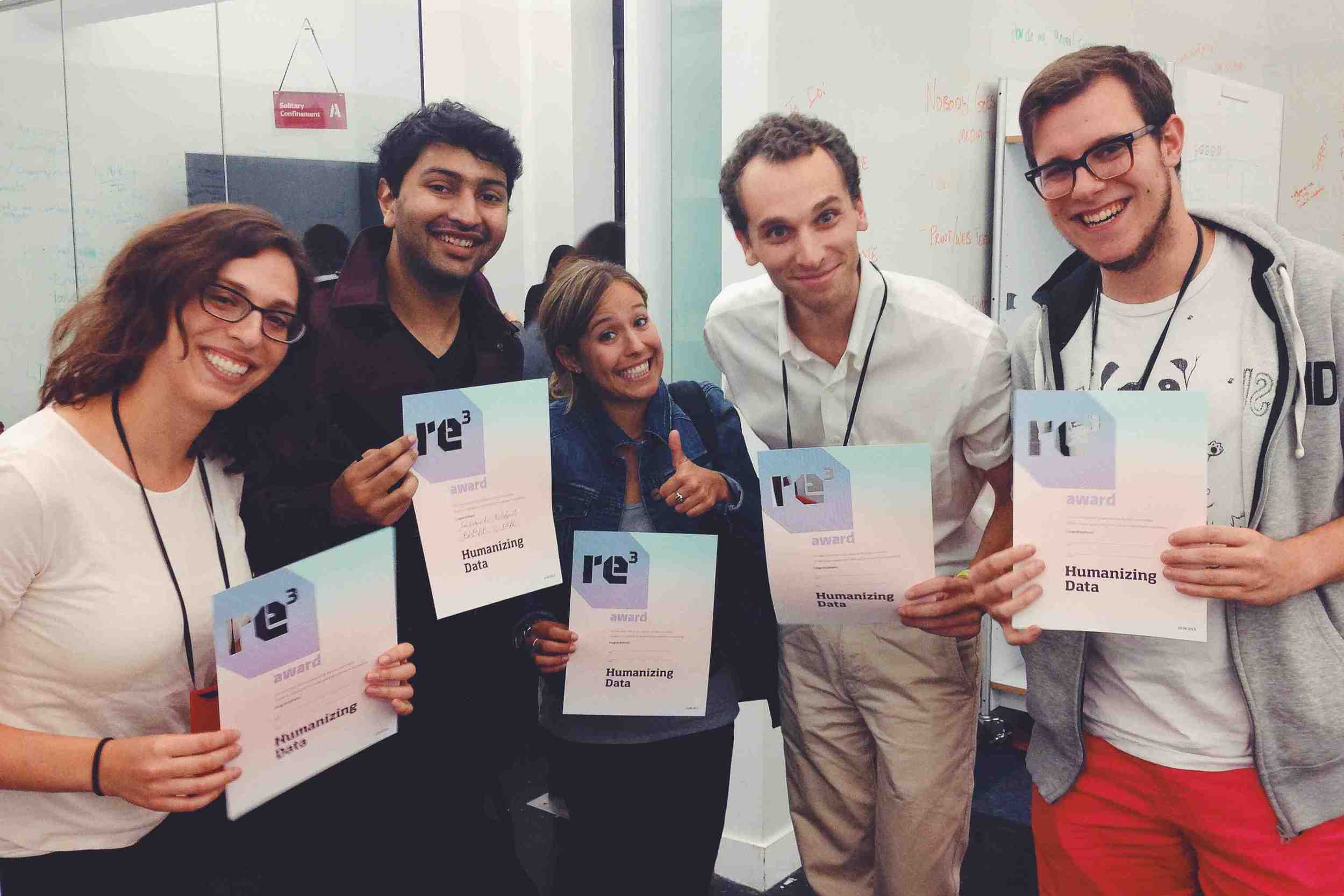 """Pictured: Team photo after winning the """"Humanizing Data Award"""""""