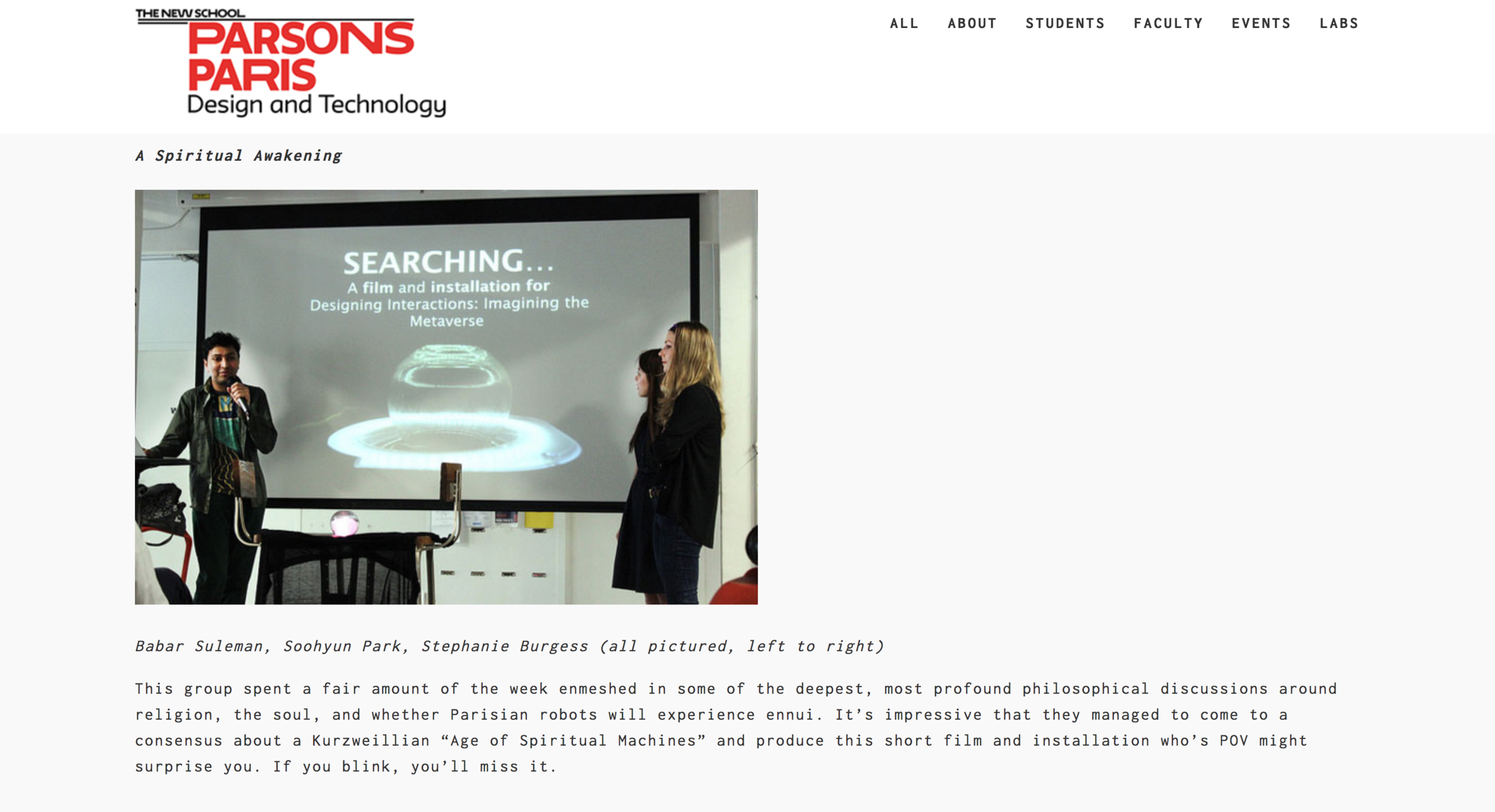 Pictured:    Write-up on the Parsons Paris website    with a photo from the Q&A session that took place after the screening of 'Searching...' at NUMA (Paris)
