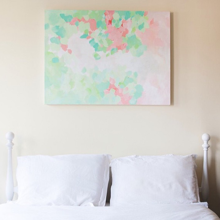 Art by Megan original painting above a headboard in a Master bedroom.  Photo by  Amy Frances Photography.
