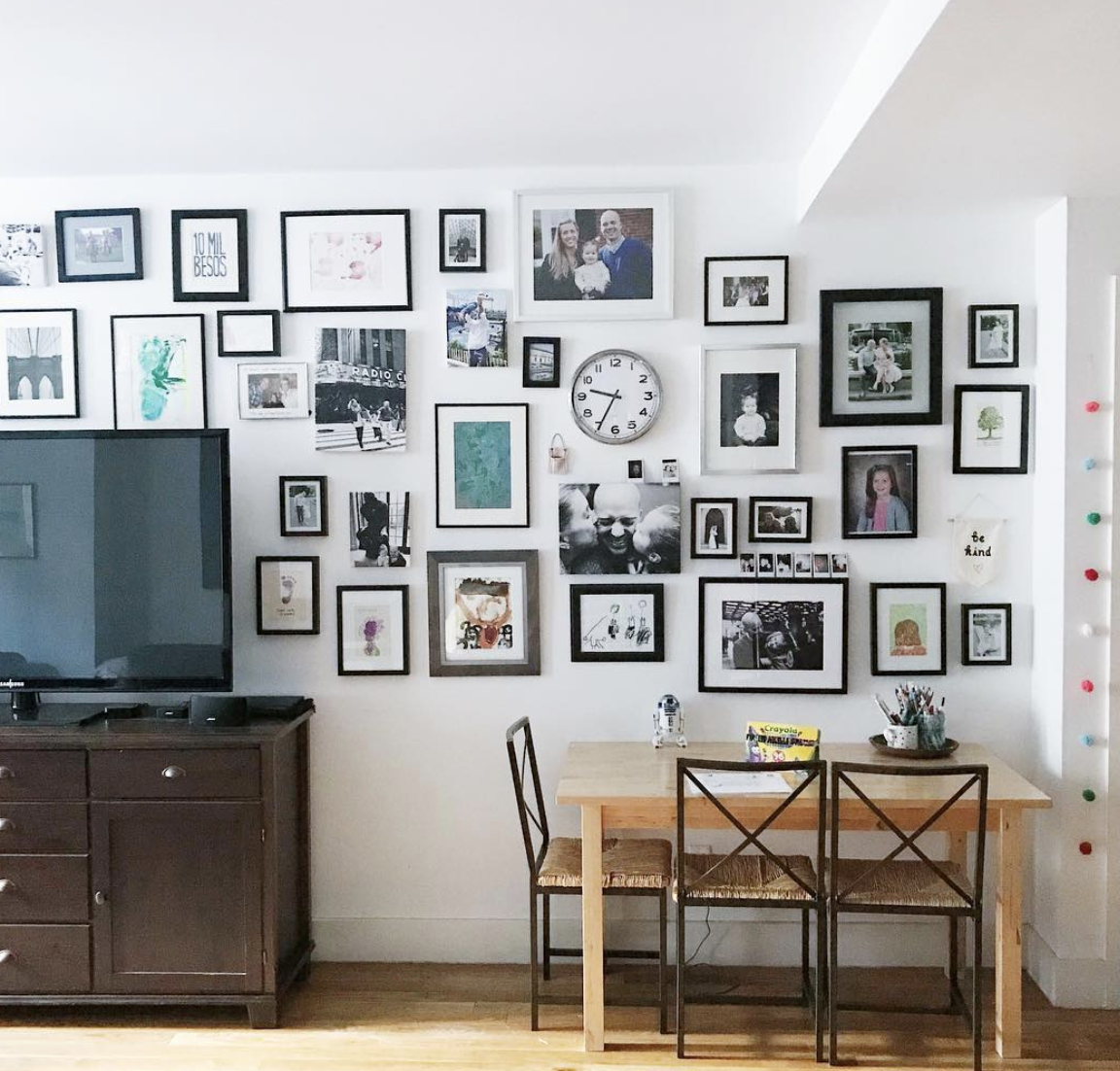 Our apartment gallery wall - see more on  @artbymegan .