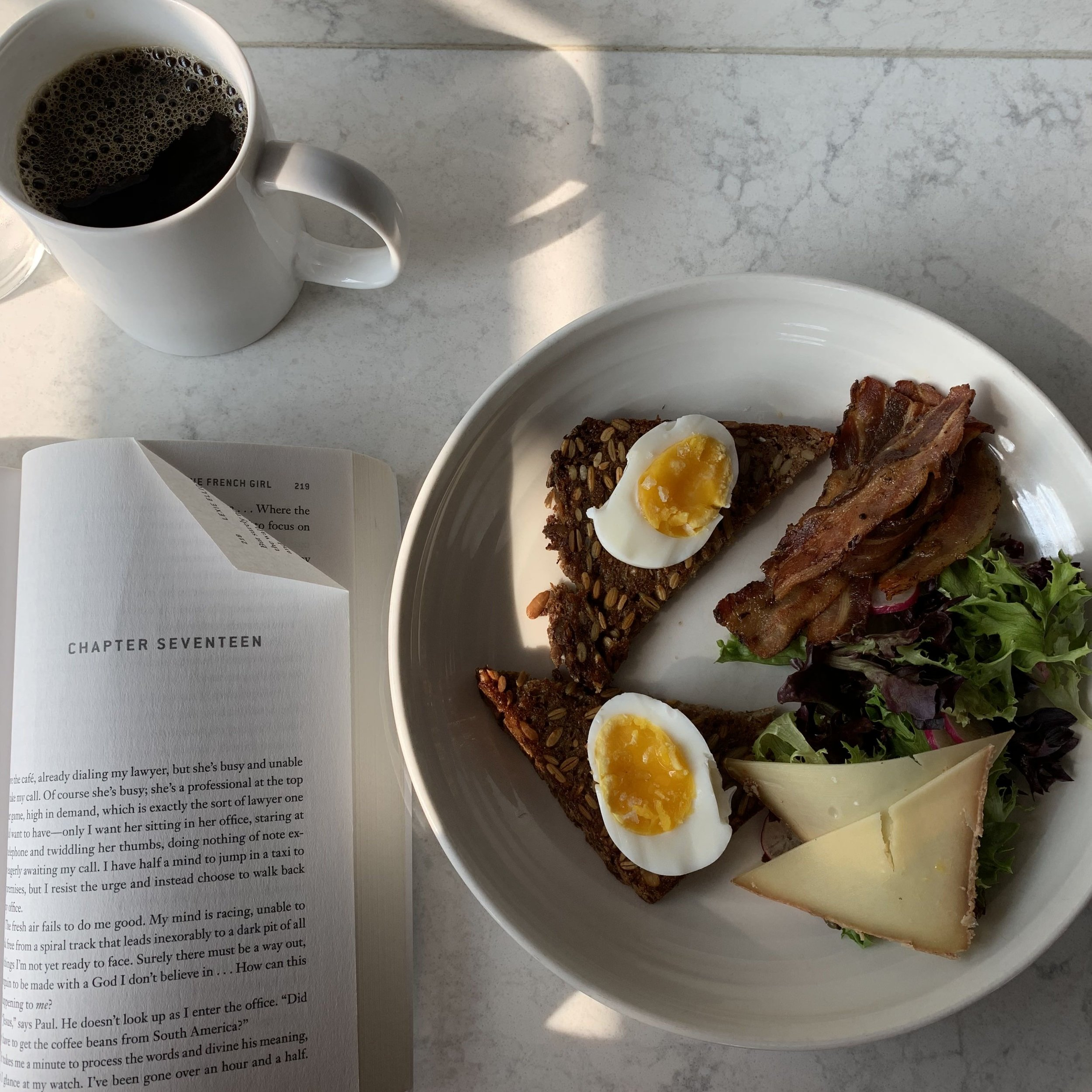 Grass and Bone Breakfast and a good book.