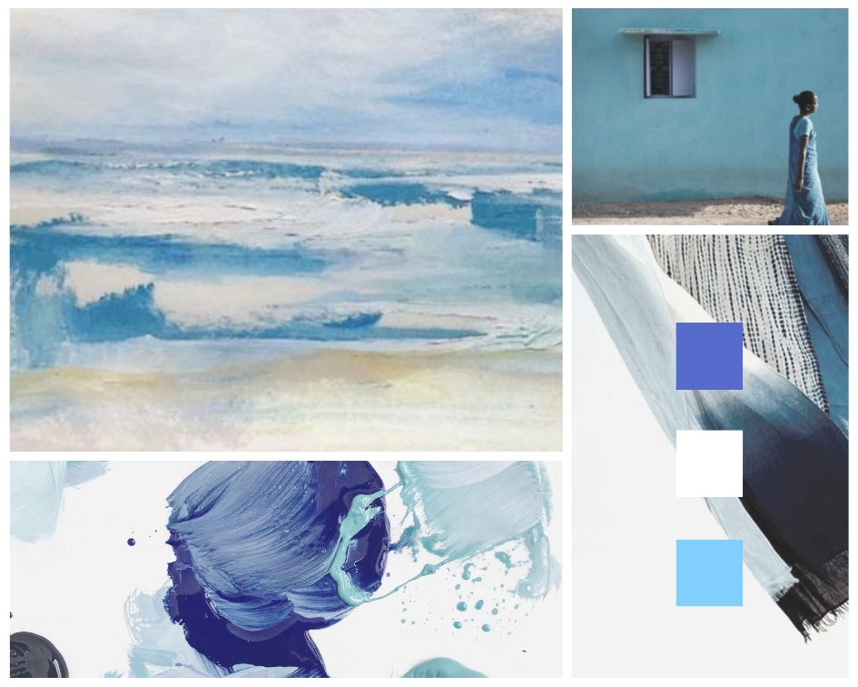 Indigo and Blue mood board by Megan Elizabeth on Canva