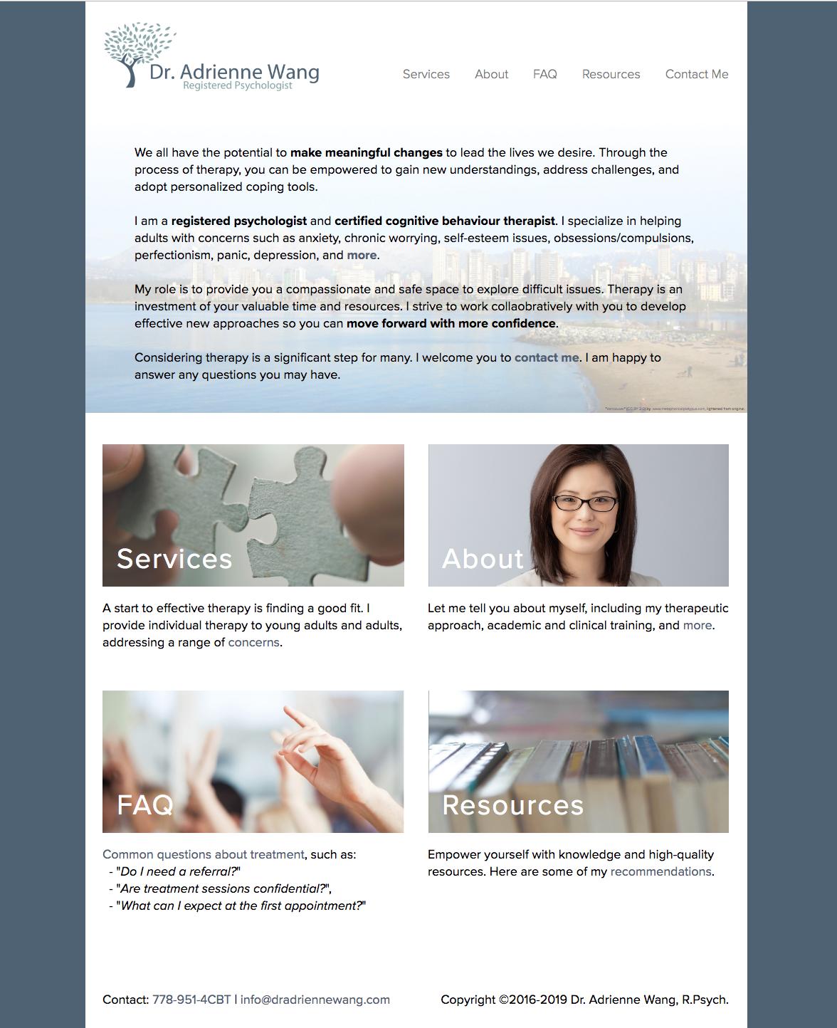 Current design of website's homepage.