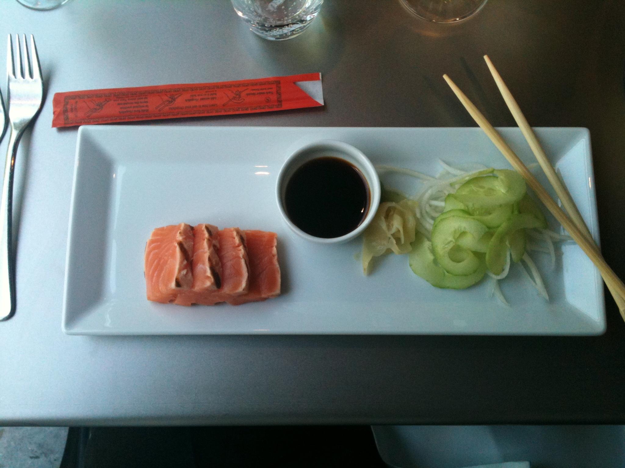 Plated coho salmon