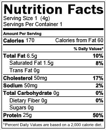 Coho nutrition label