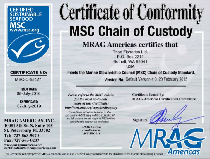 MSC Certificate for Triad