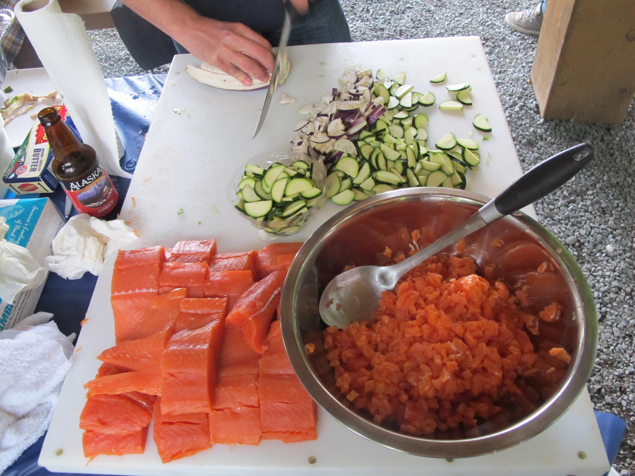 Prepping King Salmon