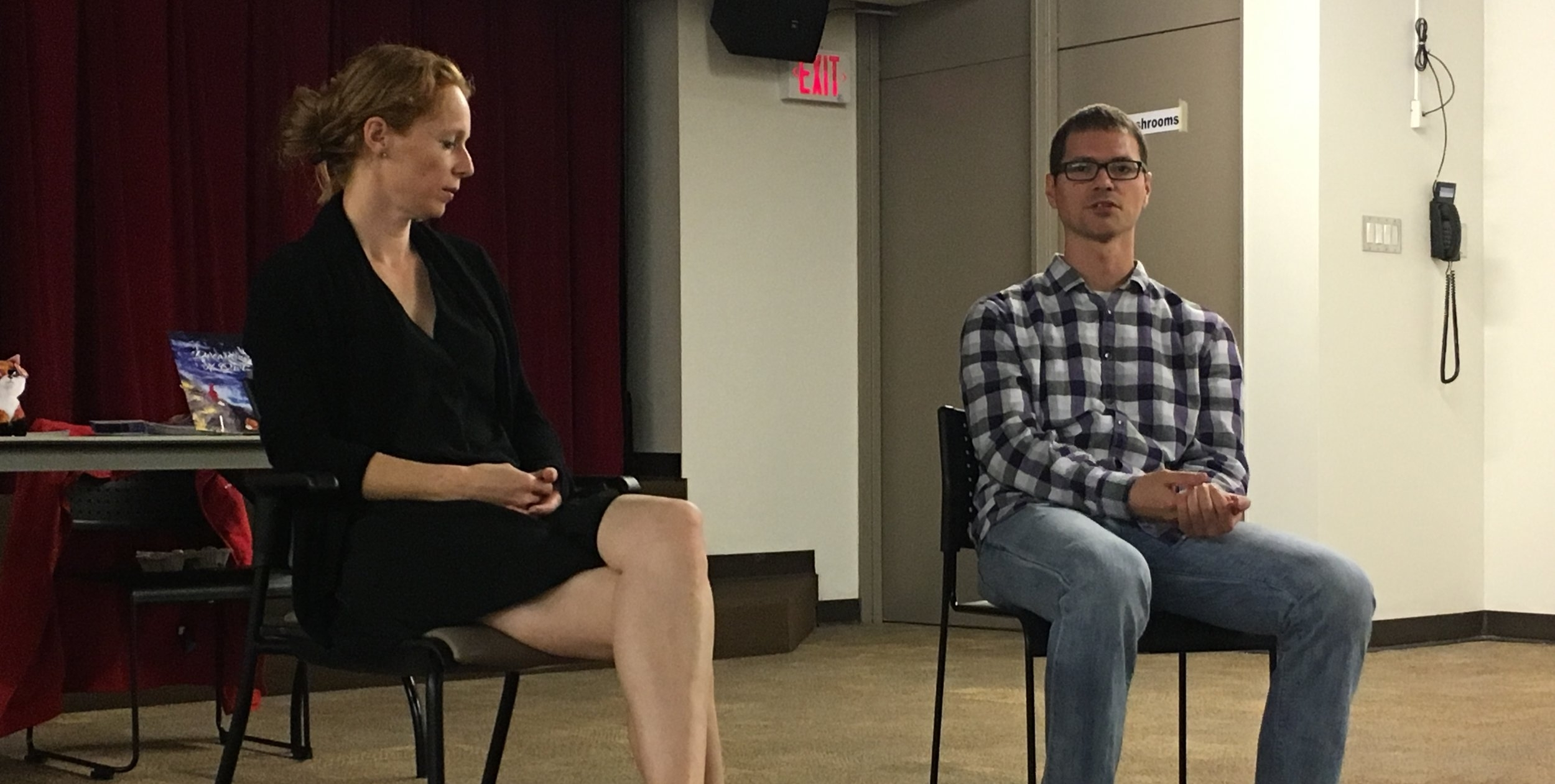 Deb n Josh talk about both books at book reading with BPL.jpg