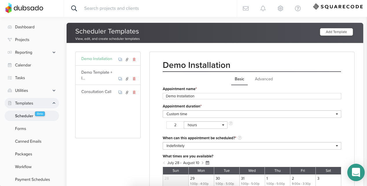 Newly integrated scheduler with Dubsado