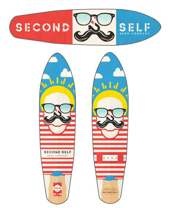 Proposed designs for Second Self Brewery and Alter-Ego long boards by Keith P. Rein