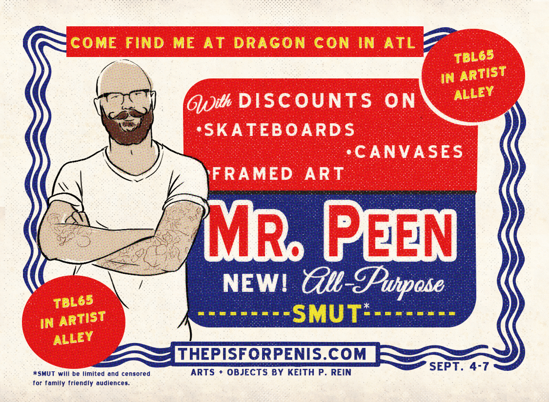 """""""Mr. Clean"""" inspired promotional ad and coupon for The P is for Penis design by Keith P. Rein"""