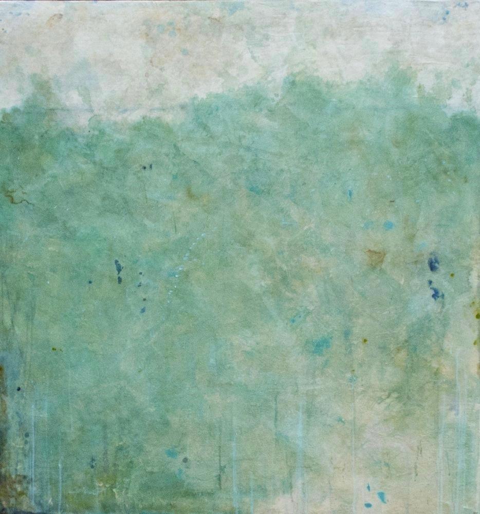 emerald sea  mixed media / panel  48 x 46 x 2