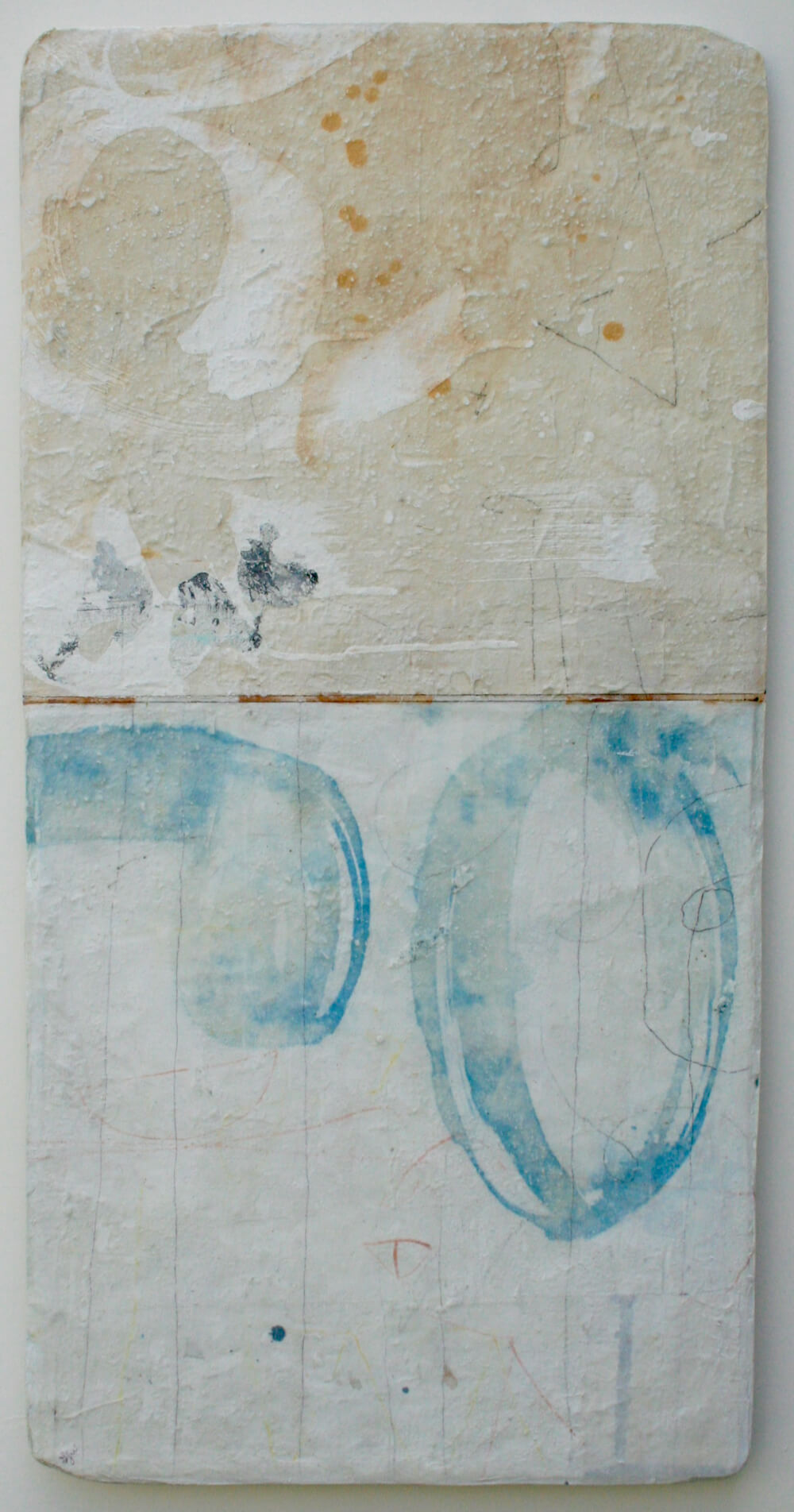 blue yoni  mixed media / paper / wood  30 x 15 x 1  sold