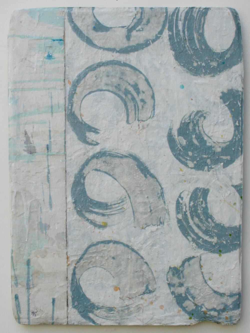 nine clouds  mixed media / paper / wood  24 x 17 x 1