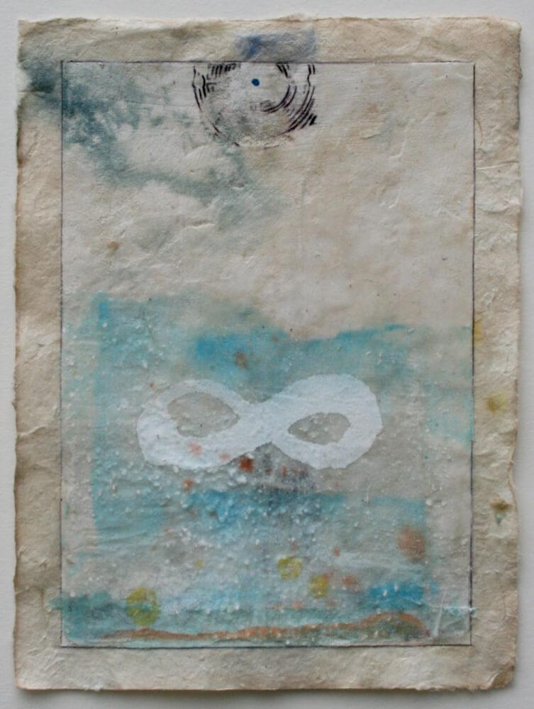 drishti series   mixed media on lokta paper  11 x 8  sold