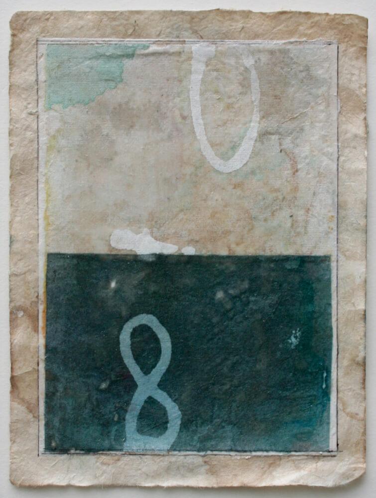 drishti series   mixed media on lokta paper  11 x 8