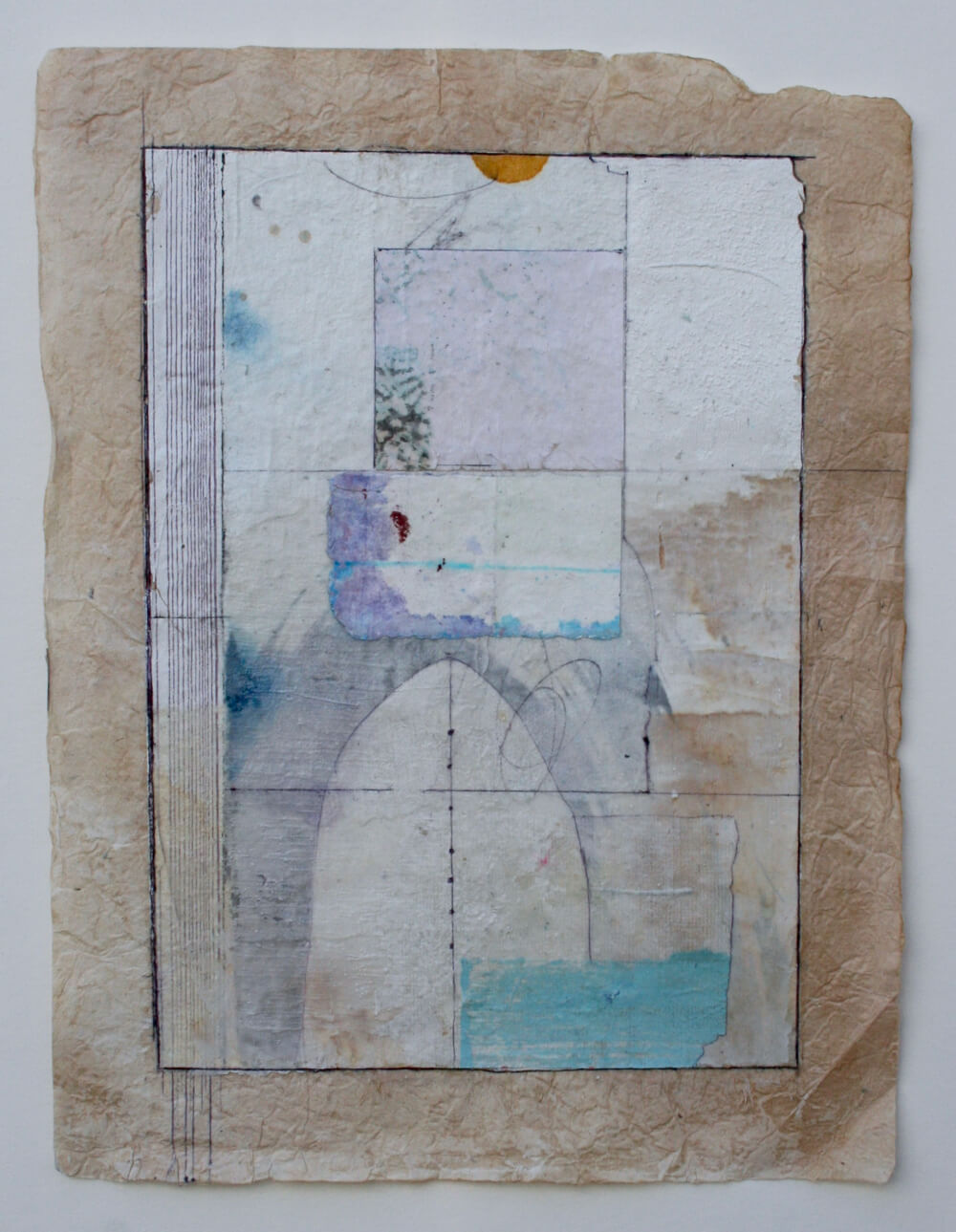 keys series   'immaterial entry'  mixed media on lokta paper  12 x 9  sold  .  .