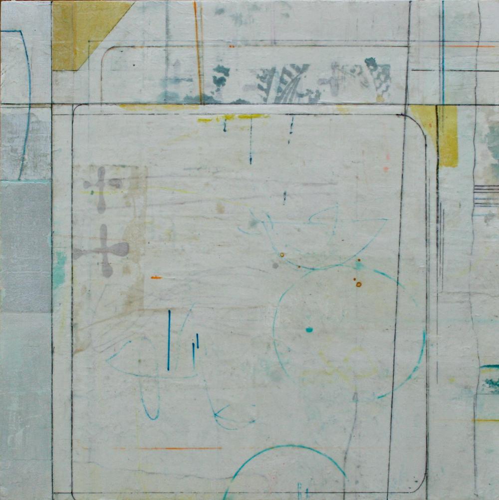 flea circus  mixed media on panel  30 x 30  .  .