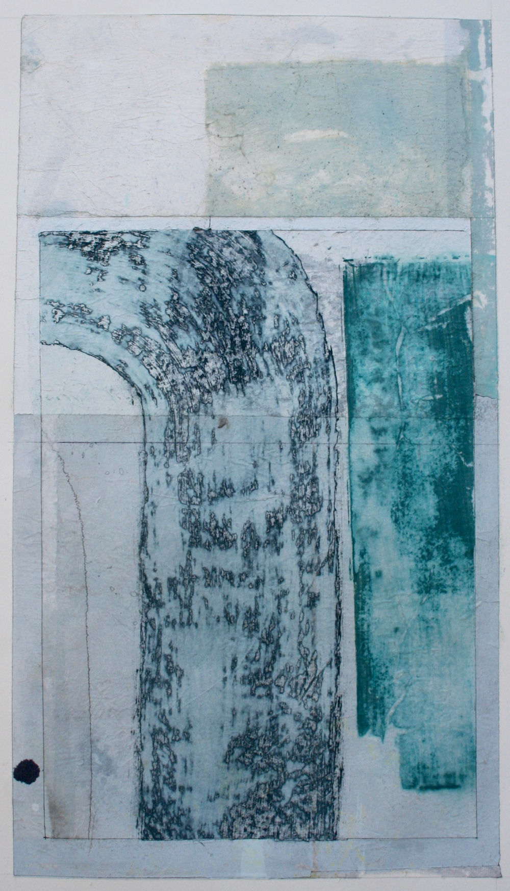 waterfall  mixed media on paper  40 x 26  .  .
