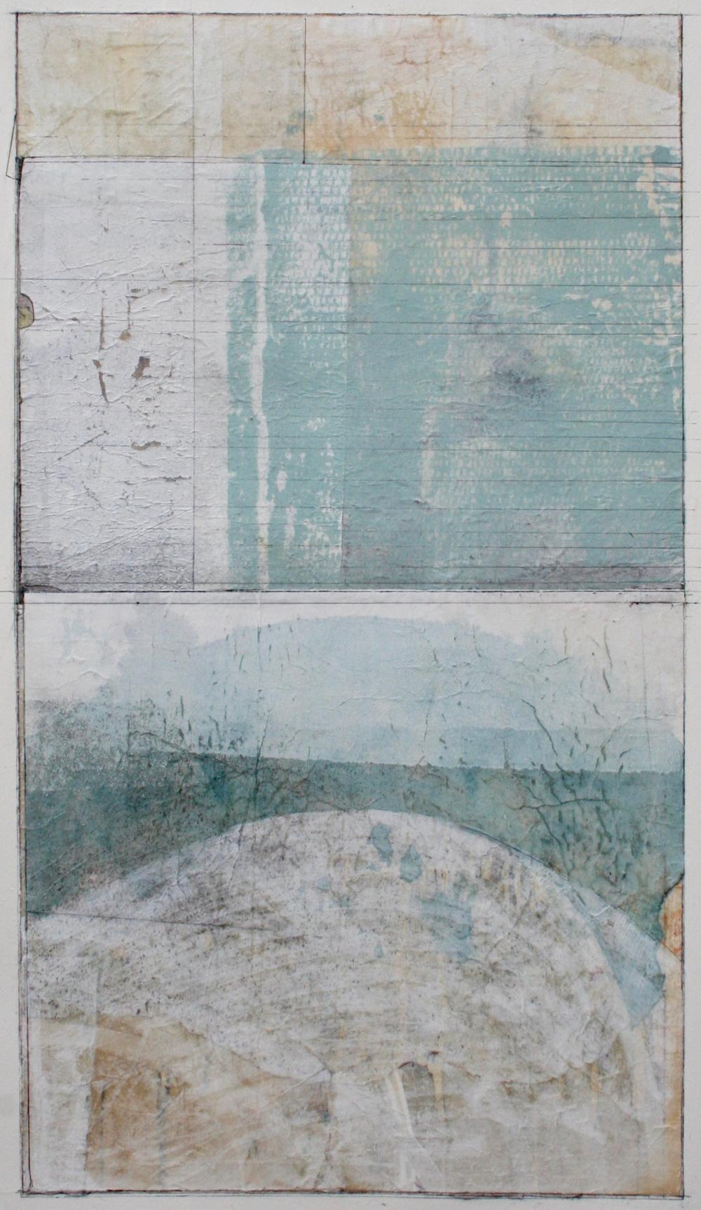 half moon bridge  mixed media on paper  40 x 26  .  .