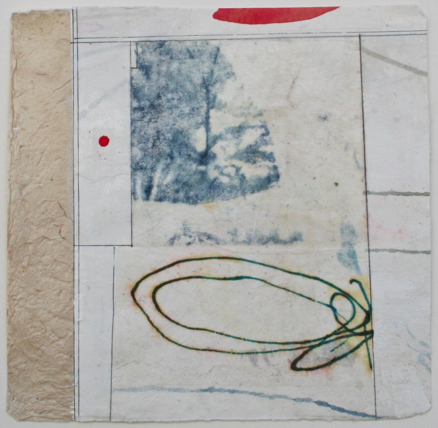 lasso  10 x 10  mixed media on Bhutanese paper  sold  .  .  .