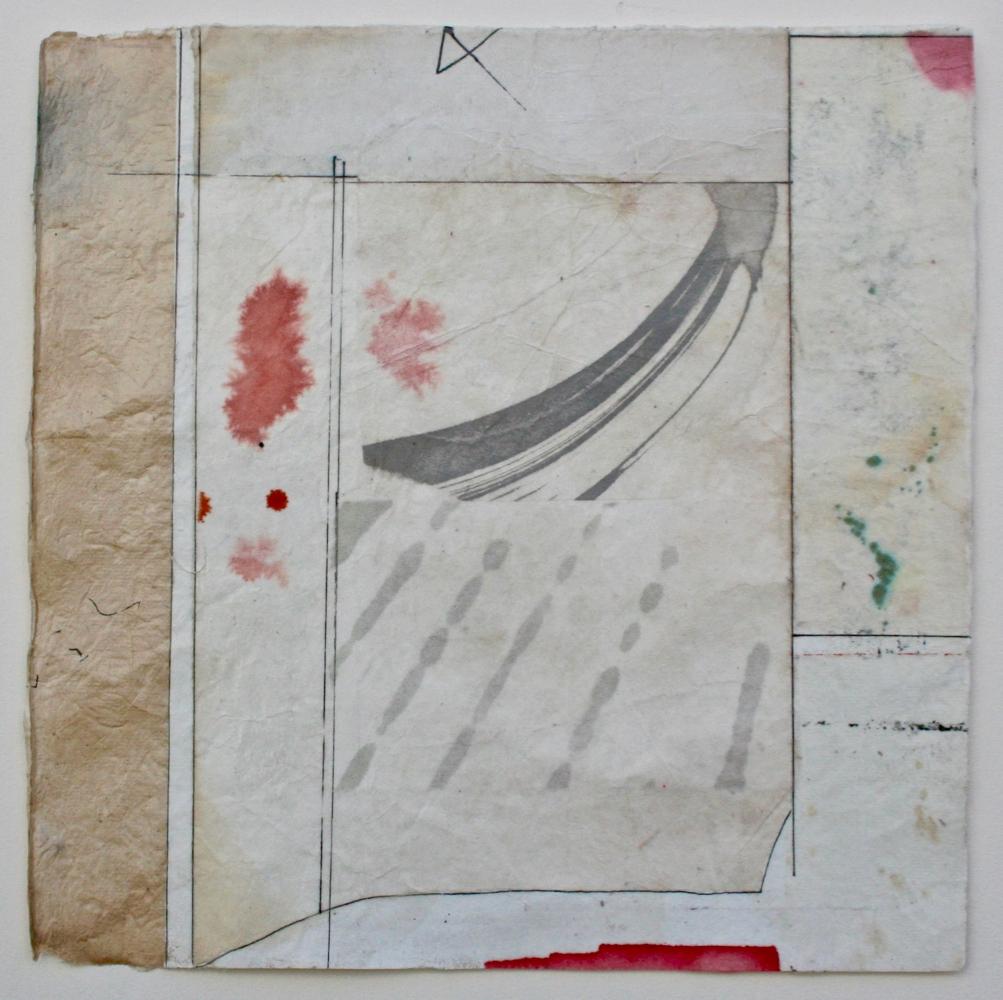grey archer  10 x 10  mixed media on Bhutanese paper  .  .  .