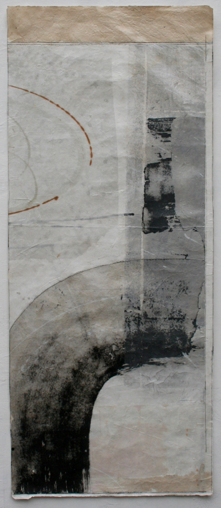totem: Wave  mixed media on Tibetan paper  42 x 17.5  sold  .  .  .