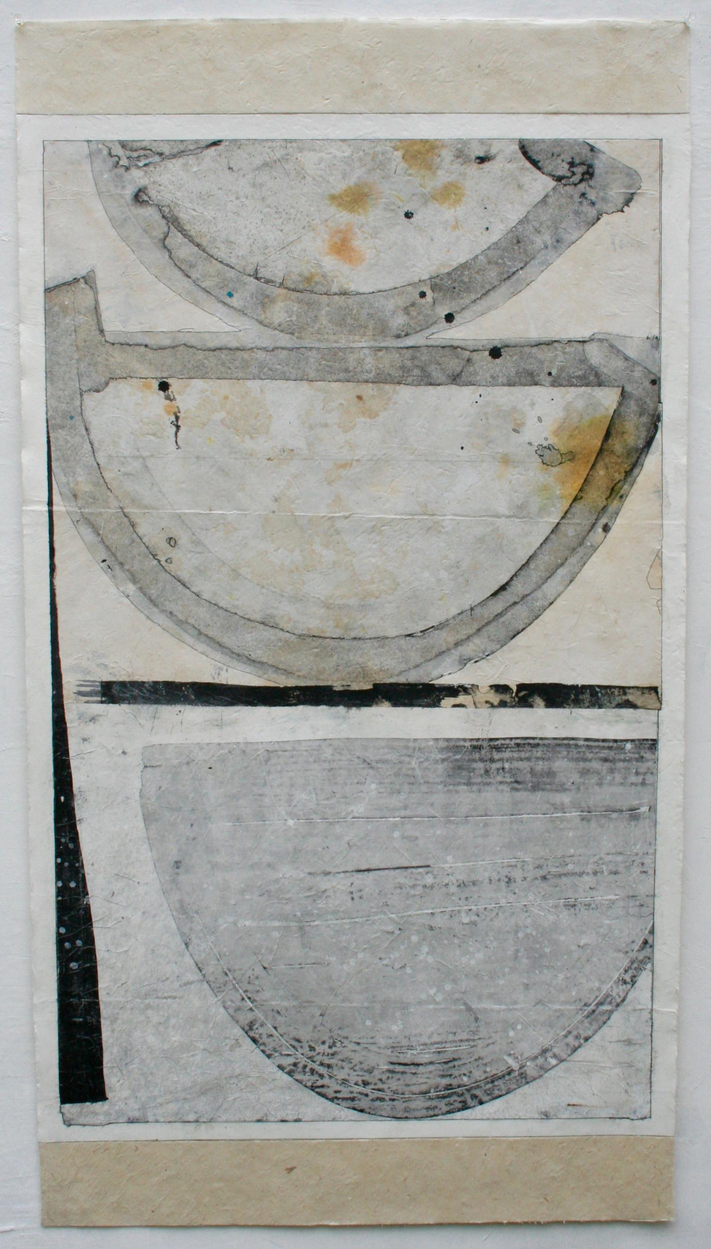 three vessels  mixed media on Tibetan paper  48 x 25.5  .  .  .  .