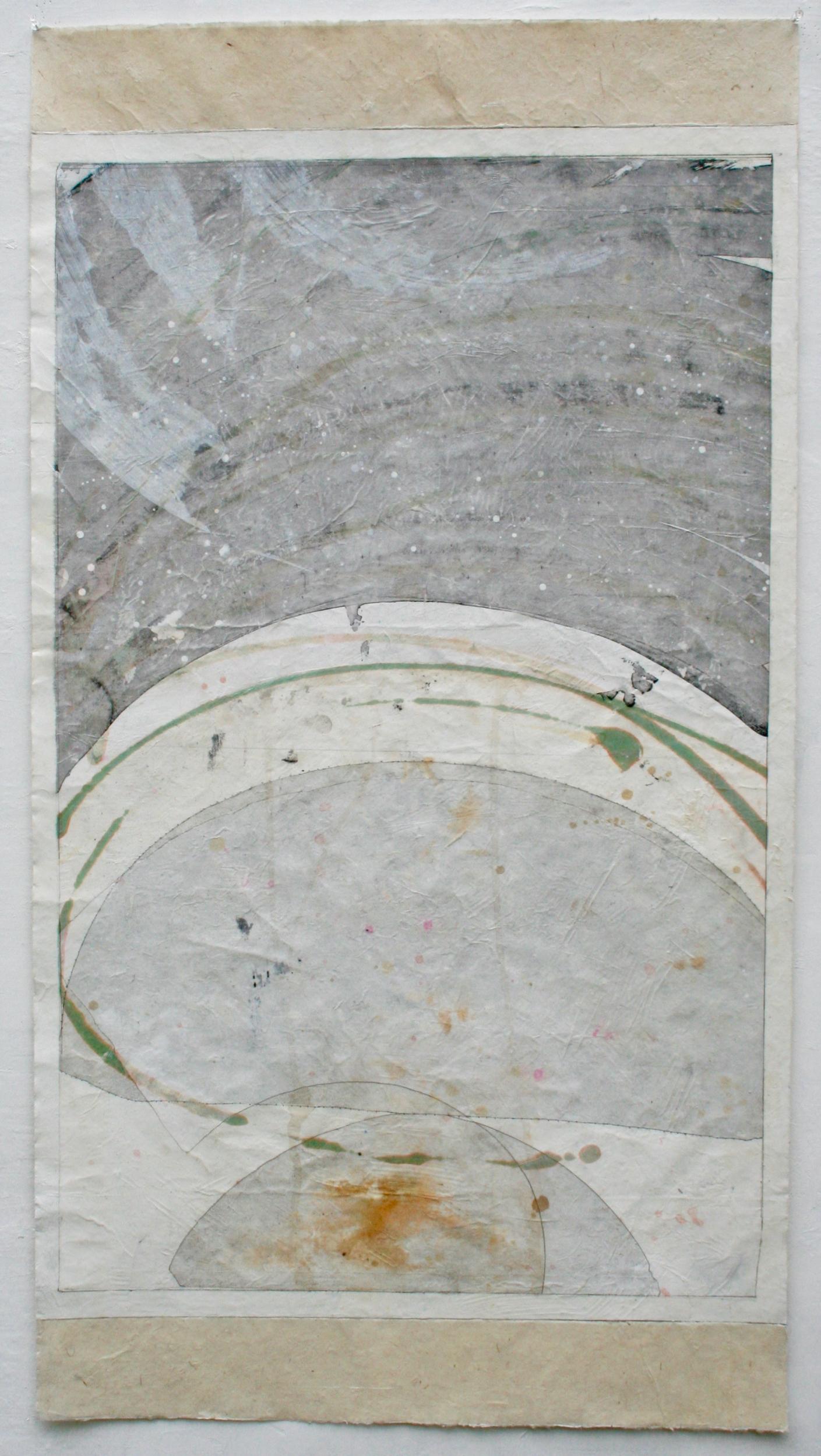 cosmos  mixed media on Tibetan paper  48 x 25.5  .  .  .  .