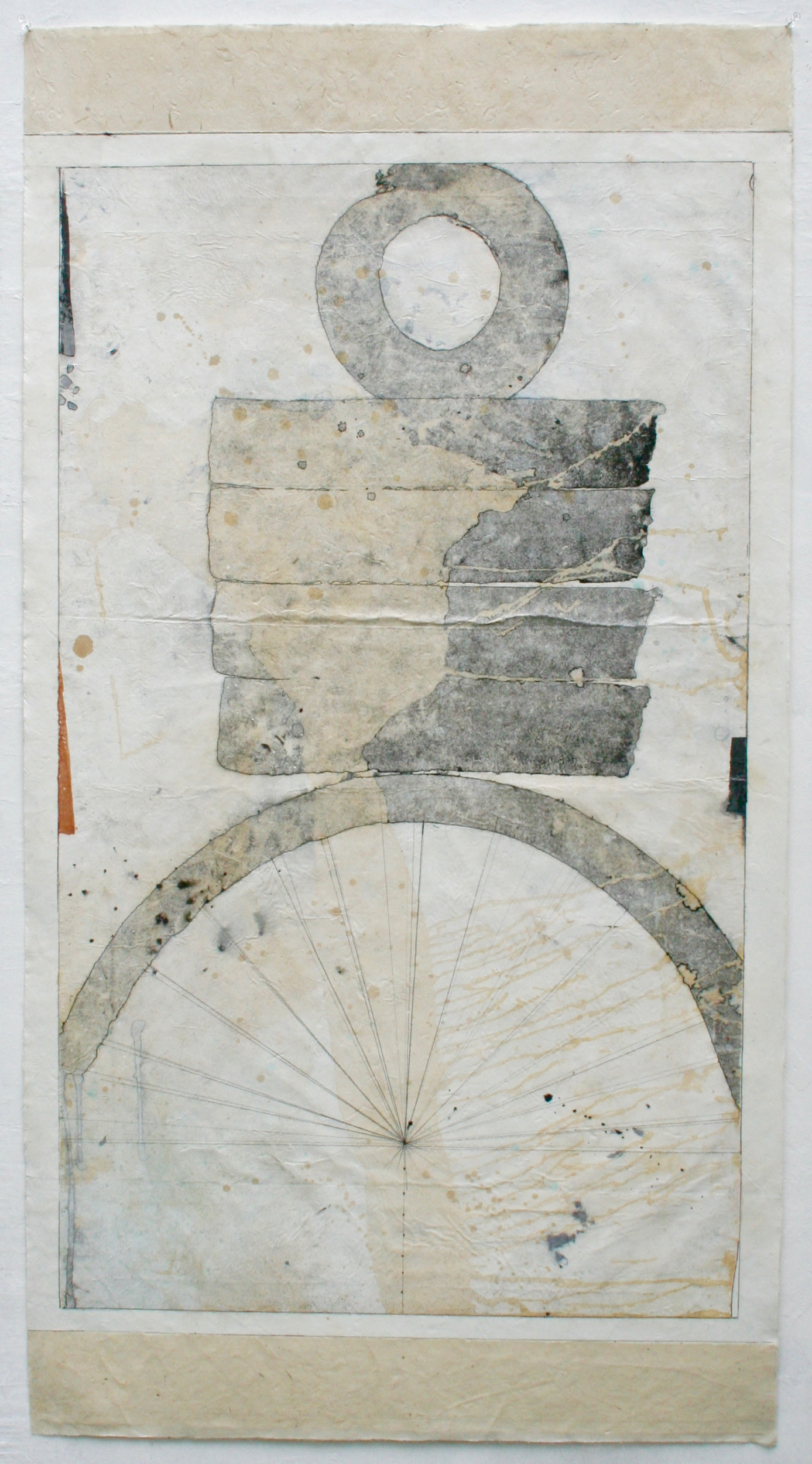 time piece, year twelve  mixed media on Tibetan paper  48 x 25.5  .  .  .  .